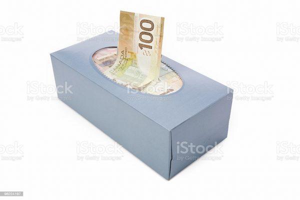 caja pañuelos billetes