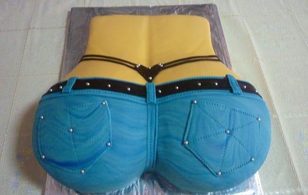 tarta erótica con forma de trasero para despedidas de soltero