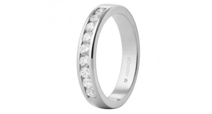 alianza de boda de 18 kilates de oro blanco y diamantes