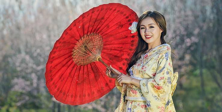 novia en una boda temática japonesa